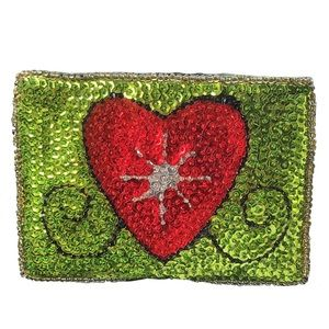 Lime Green Beaded Red Heart Sequin ZIP Coin Purse
